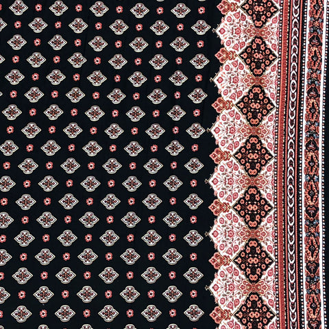 Single Brushed Poly - Boho Border Print, Rust & Black
