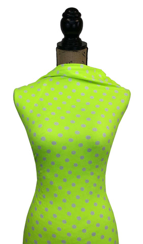 Double Brushed Poly Medium Dots - Neon Yellow Dots