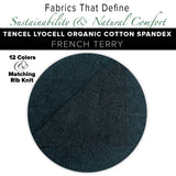 Natural Fabric: Tencel Lyocell Organic Cotton Spandex French Terry - Pine