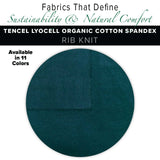 Natural Fabric: Tencel Lyocell Organic Cotton Spandex 2X2 Rib Knit - Pine