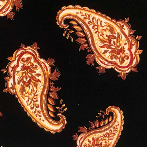 Double Brushed Poly - Paisley Surrender in Black