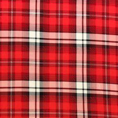 Double Brushed Poly Plaid - Red, Ivory & Black