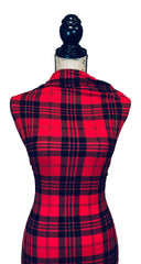 Single Brushed Poly Plaid - Red & Black