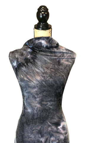 Single Brushed Poly - Fusion Tie Dye in Charcoal