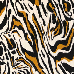 Single Brushed Poly - Tiger Print in Ivory