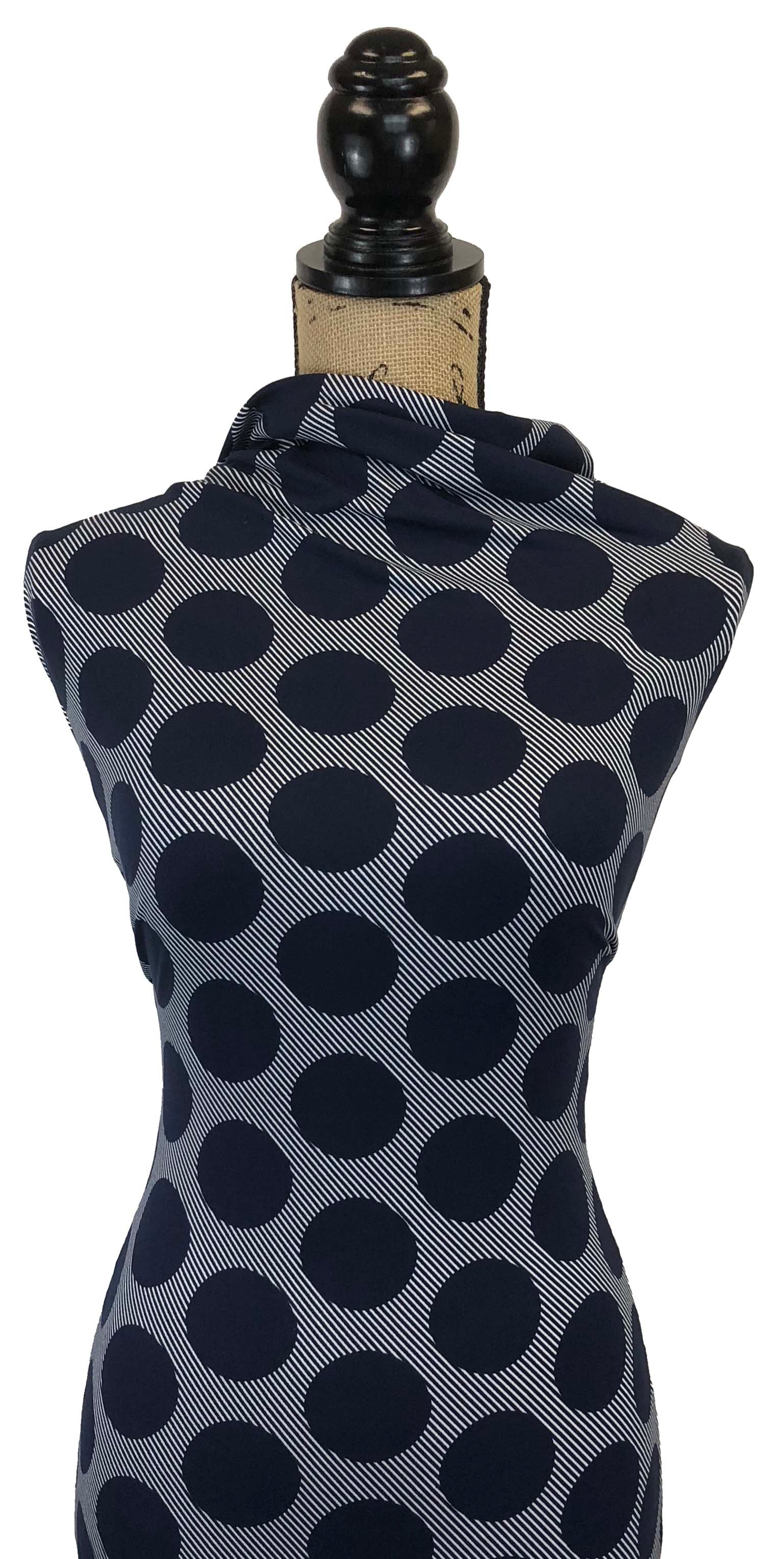 Double Brushed Poly Large Dots - Navy
