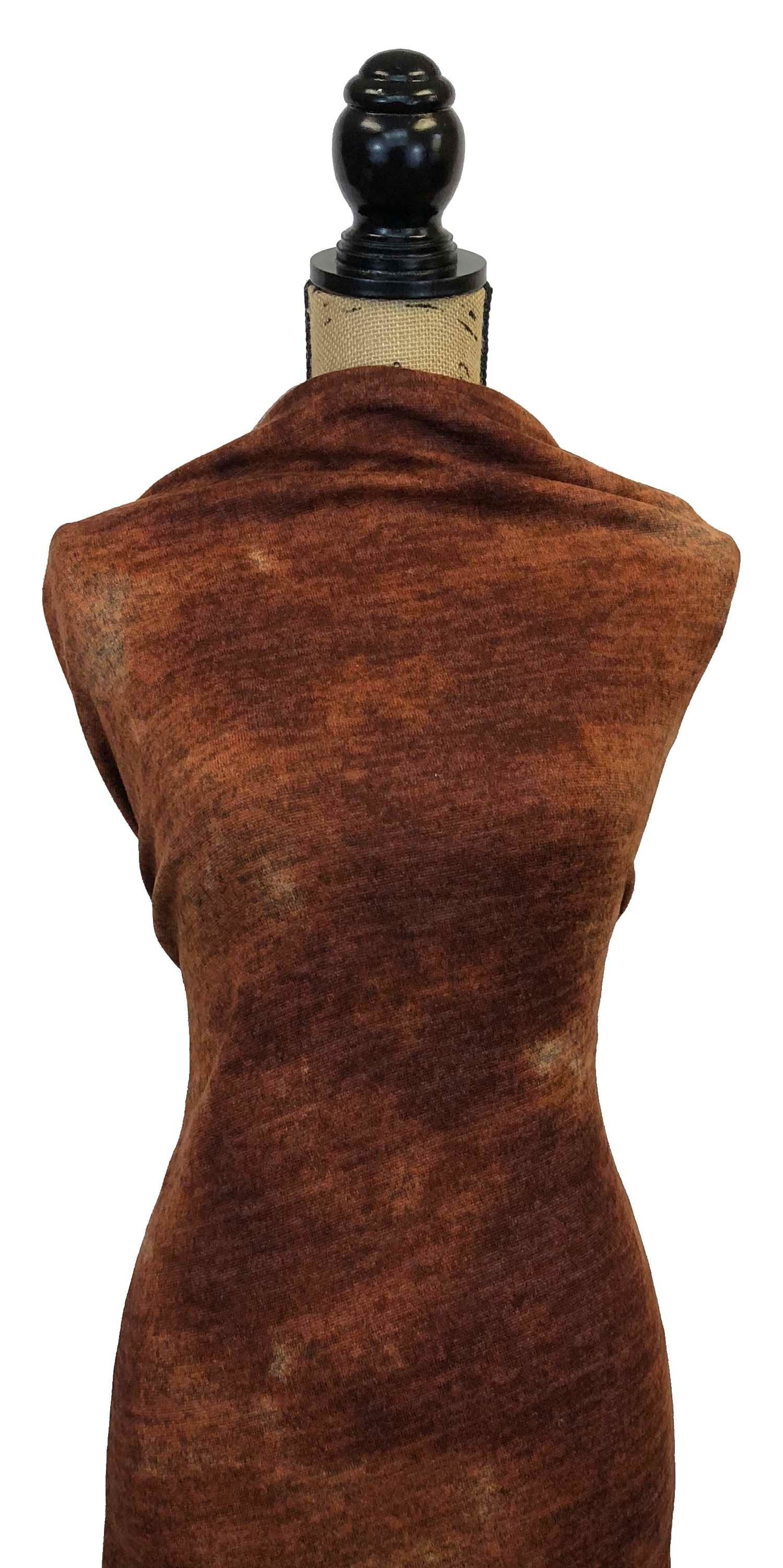 Brushed Sweater Knit - Rust Melange Tie Dye