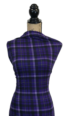 Double Brushed Poly Plaid - Purple, Black & Ivory