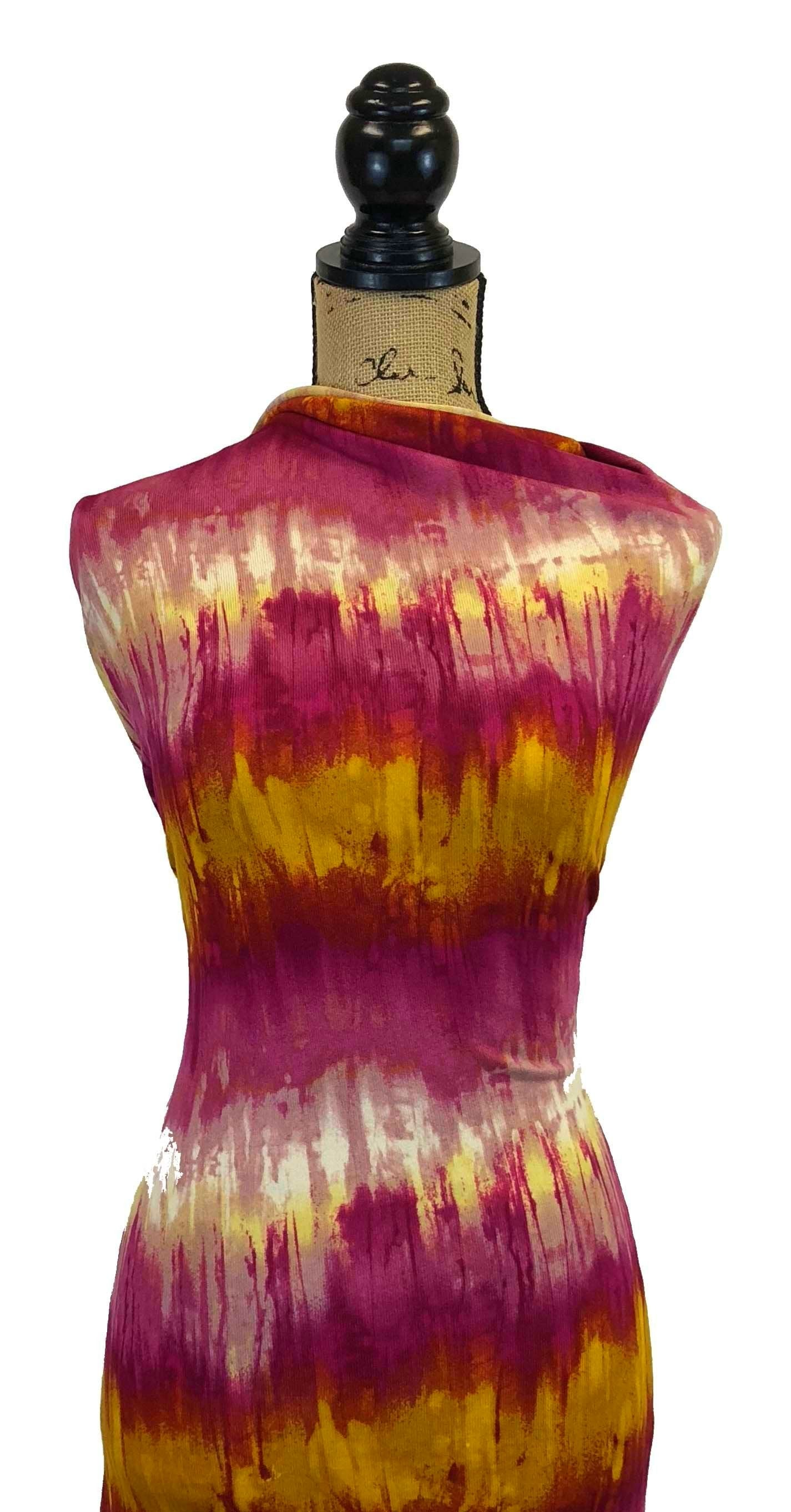 Sweater Knit - Magenta & Gold Tie Dye