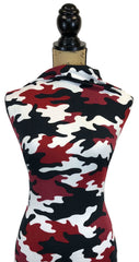 Double Brushed Poly - Camouflage in Black/Red