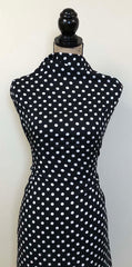 Rayon Challis -  Polka Dots in Black & White