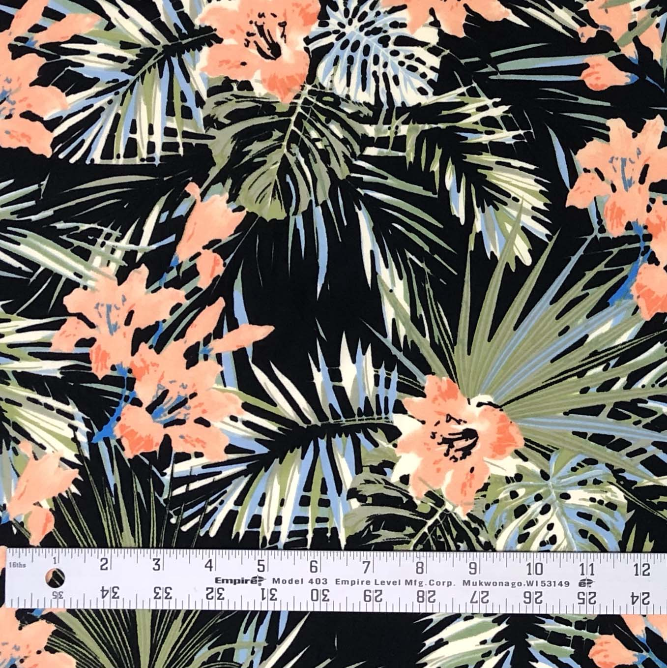 Single Brushed Poly - Hideaway Floral in Black