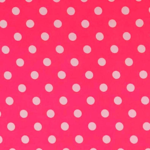 Double Brushed Poly Medium Dots - Neon Pink Dots