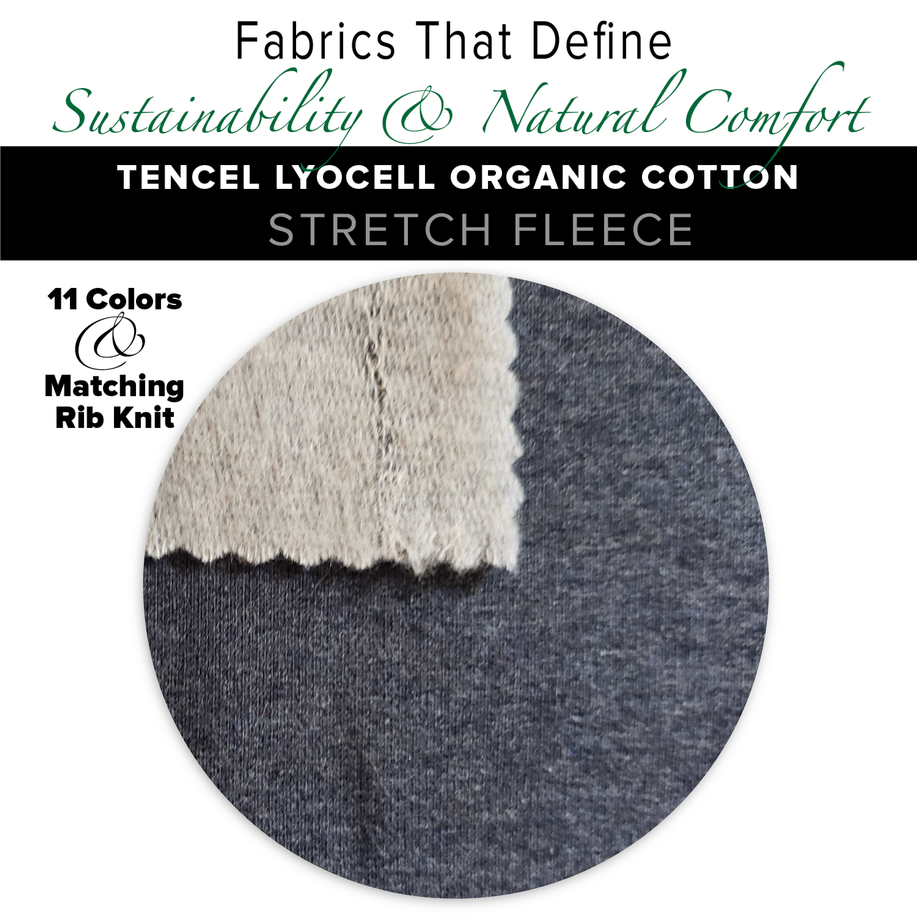 Natural Fabric: Tencel Lyocell Cotton Stretch Fleece - Chilli