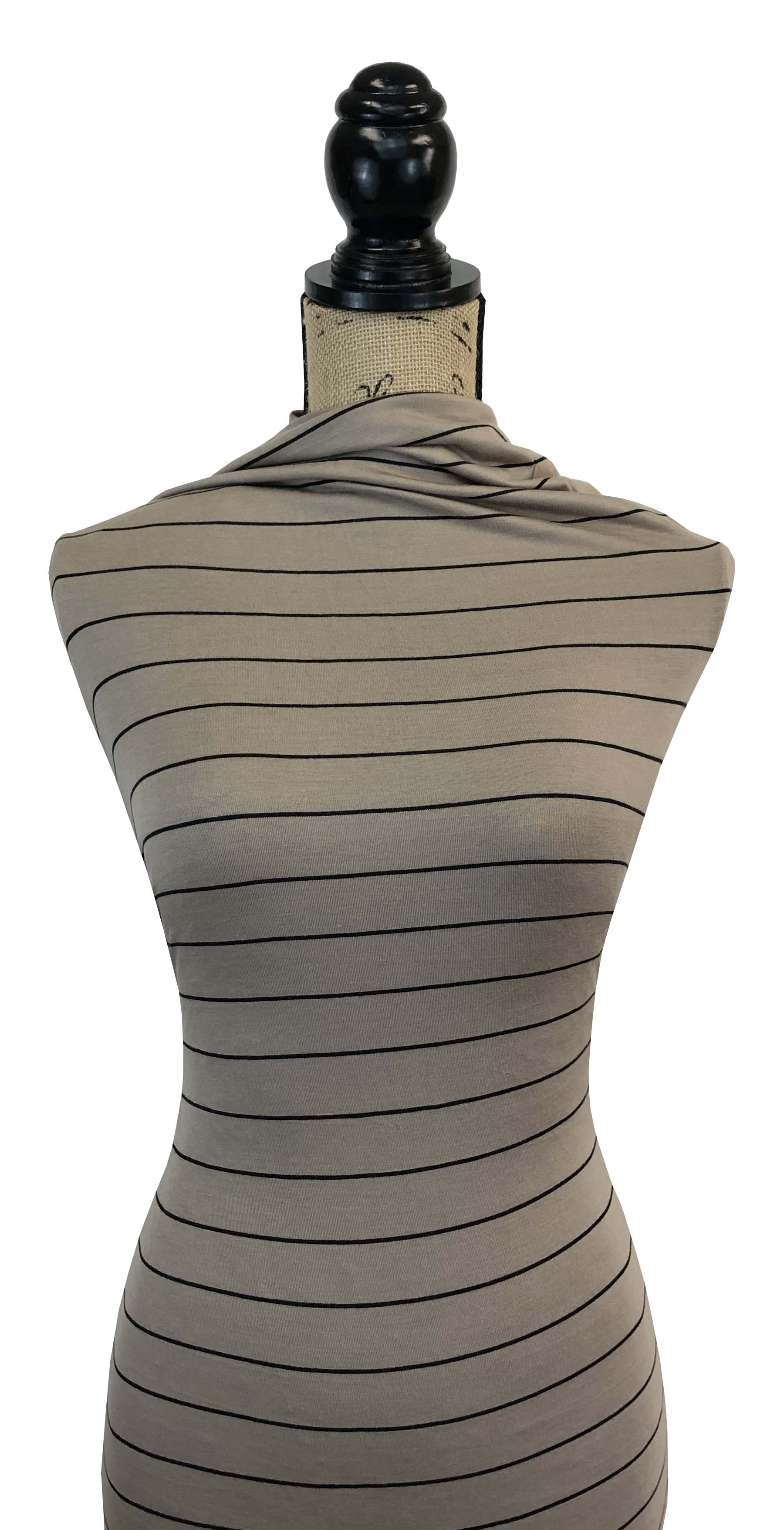 Rayon Spandex Stripes - Khaki & Black Pinstripes
