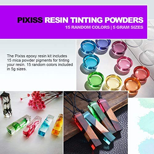 Pixiss Epoxy Resin Mixing Kit & Supplies with 15 Resin Tinting Mica Powders (89pcs)