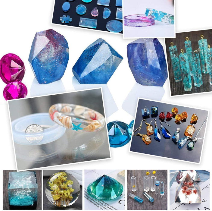 Pixiss Epoxy Resin Molds, Mixing Kit Supplies, 15 Resin Tinting Mica Powder Pigments; 106pc.
