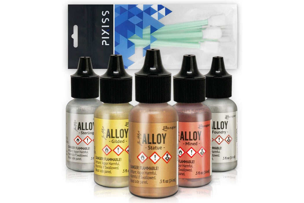Ranger Tim Holtz Alcohol Ink Alloys Metallic Set with Pixiss Alcohol Ink Blending Tools