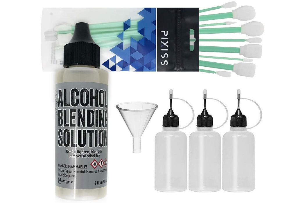 Alcohol Ink Blending Solution, Pixiss Blending Solution Tools, Pixiss Refill Bottles & Funnel