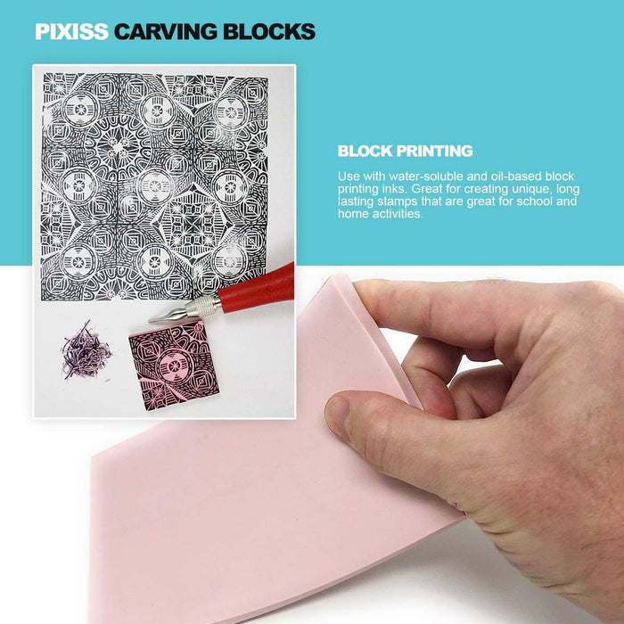 Pixiss 5-Pack Carving Rubber Stamps for Printmaking, Printing and More