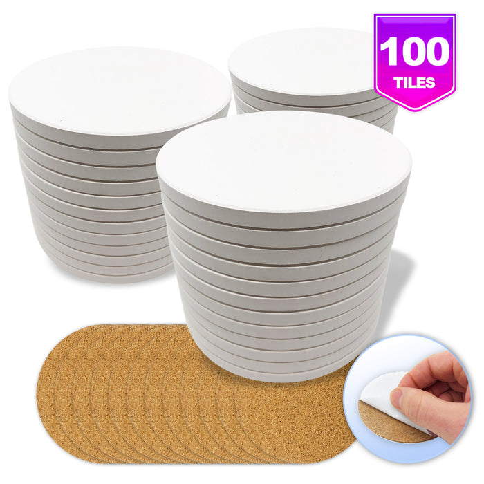 Pixiss Ceramic Round Coasters with Cork Backing; 100 coasters
