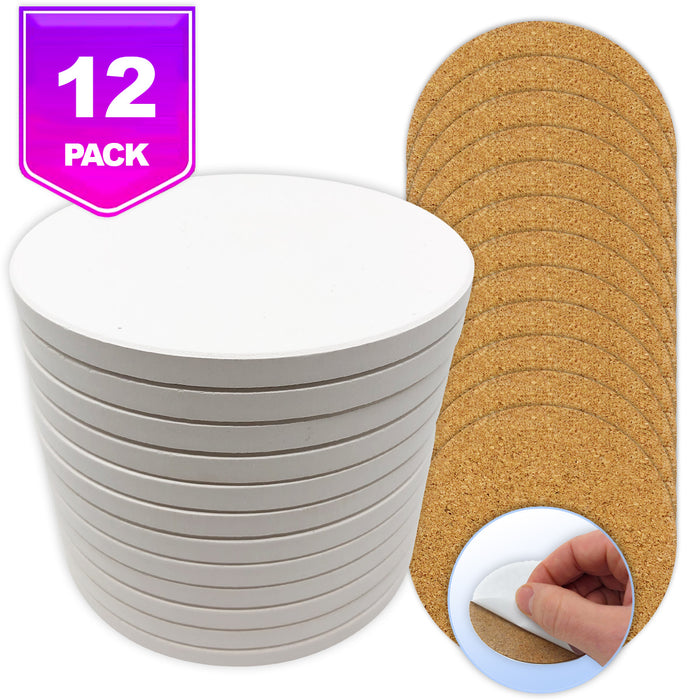 Pixiss Ceramic Round Coasters with Cork Backing; 12 coasters
