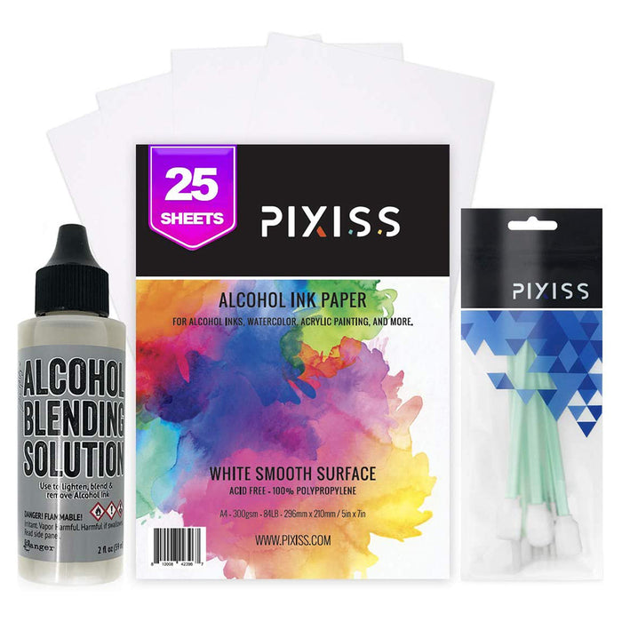 Pixiss Alcohol Ink Paper, Ranger Alcohol Blending Solution, Pixiss Blending Tools Bundle