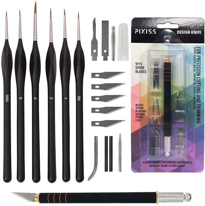 Pixiss Miniature Brushes with Precision Crafting Knife Bundle