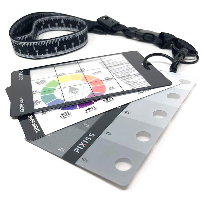 Pixiss Artists View Finder, Color Wheel, Greyscale Value Finder and Measuring Lanyard