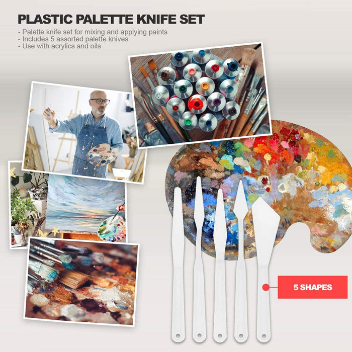 Pixiss Plastic Palette Knife Set, 5 Pieces Painting Knives Spatula Palette Knives