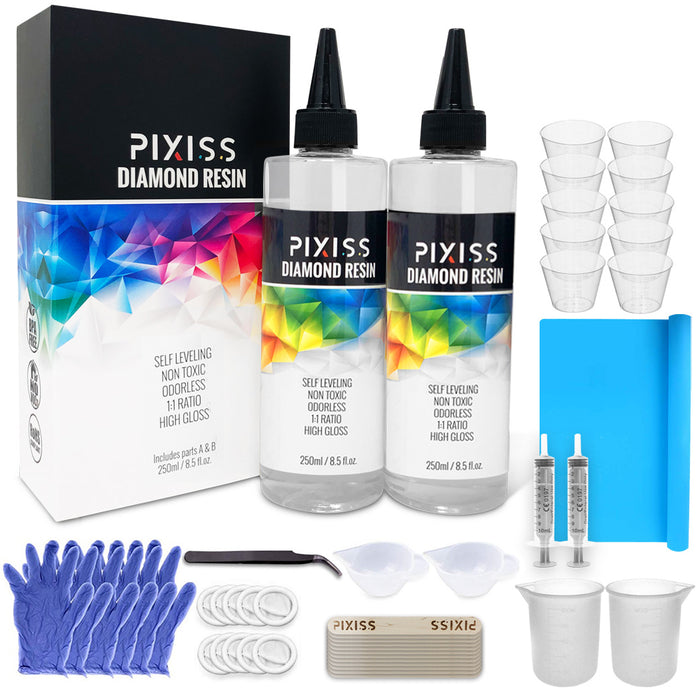 Pixiss Diamond Resin; 17oz. with Resin Mixing Cups and Supplies