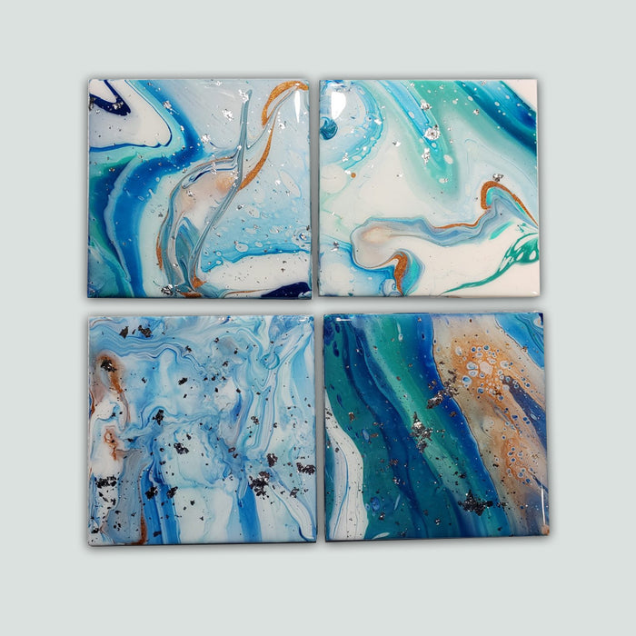 Pixiss Ceramic Square Coasters with Cork Backing; 12 coasters