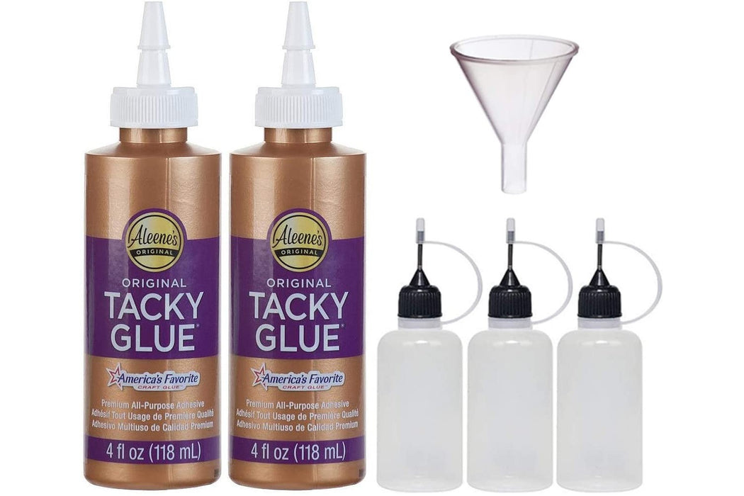 Aleenes 4-Ounce Original Tacky Glue 2 Pack & 3 Pixiss 20ml Refill Bottles & 1.5 inch Funnel Bundle