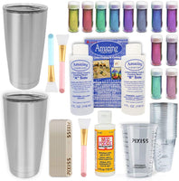 Acrylic Paint Pouring Bundle - Floetrol, Cups, 16x 2-Ounce Acrylic Paints, 3X 6-inch Canvases, Pixiss Acrylic Pouring Oil, Mixing Sticks, Gloves, Complete Kit for Paint Pouring