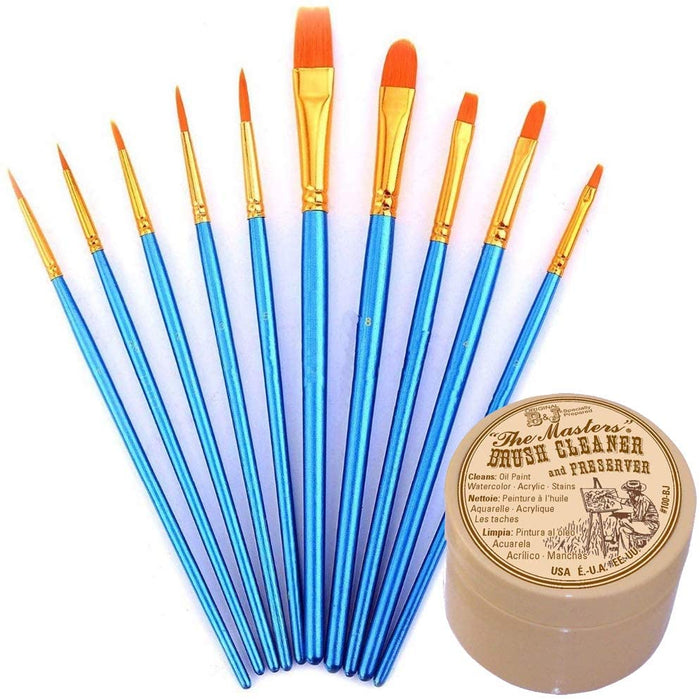 General Pencil Masters Brush Cleaner & Preserver and Pixiss Acrylic Paint Brush 10 Piece Set
