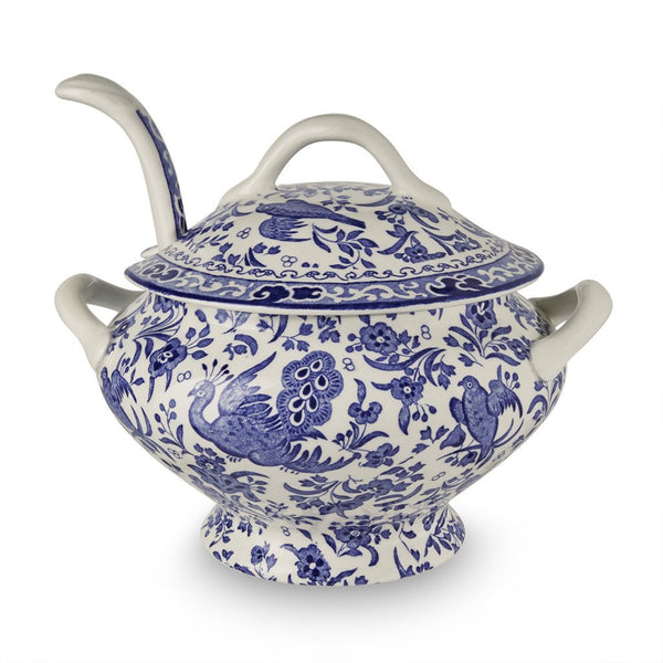 Blue Regal Peacock Sauce Tureen & Ladle