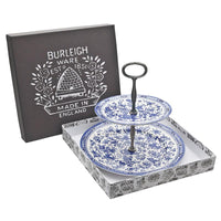 Blue Regal Peacock 2-Tier Cake Stand Gift Boxed