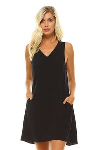 Dress Women's V-Neck Knee Length Tank