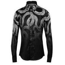 Button up Fierce snake pattern Gothic style men shirt High quality Black color Full sleeve Slim fit shirt Camisa