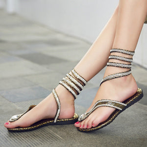 Merkmak Women Luxury Crystal Sandals Hot Fashion Snake Design Summer Thong Flat Gladiator Sandal Ankle Wrap Flip Flips