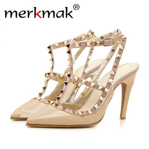 Merkmak Women's Shoes Sexy Pumps Rivet Women Summer Sandals Sexy Fashion T-Strap High Heels Pointed Toe Office Work Shoes