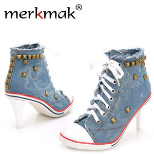Merkmak Women Vintage High Heels Canvas Rivet  Pumps Ladies Casual Lace-Up Girls Denim Pump Rivets Sexy Cool Pumps