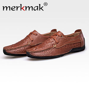Merkmak Oxford Shoes Men Loafer Genuine Leather Fashion Casual Business Driving Men Shoes Casual Breathable Flats moccasins