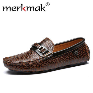 Merkmak Luxury Brand Men's Flats Casual Men's Loafers Genuine Leather Slip On Soft Moccasins Men's Shoes Top Quality Driving Shoes
