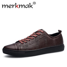 Merkmak  New Fashion Men Genuine Leather Shoes Leisure Male Casual Leather Oxford Shoes Comfortable Man Soft Driving Flats