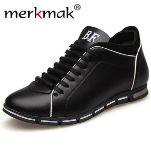 Merkmak New Height Increase Casual Men Shoes Autumn Genuine Leather British Style Fashion Shoes Outdoor Footwear Men Flat shoes
