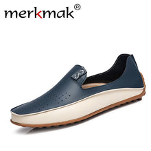 Merkmak Men's Loafers Comfortable Flats Top Quality Luxury Brand Leather Men's Shoes Summer Breathable Driving Shoes Big sizes 38-47