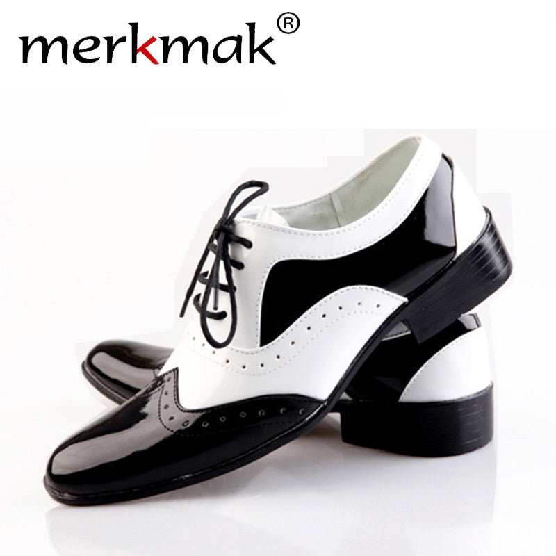 Merkmak Men's Pointed Toe Business/  Wedding Fashion Oxfords Glossy Casual Comfortable Soft  Footwear Zapatos