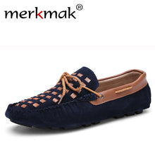 Merkmak  Men Shoes Casual Genuine Leather Slip On Men Loafers Moccasins Flats Sapatos Masculino Comfortable Breathable Shoes