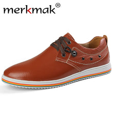 Merkmak Shoes's Men Casual Genuine Leather Footwear British Style Business Pointed Toe Masculino Comfortable Men Flat Shoes